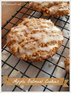 Apple Oatmeal Cookies at Jam Hands We're still on the hunt for the ultimate spicy raisin cookie recipe at our house, but in the mean time I tried out these Apple Oatmeal Cookies w… Apple Desserts, Cookie Desserts, Just Desserts, Cookie Recipes, Delicious Desserts, Dessert Recipes, Yummy Food, Health Desserts, Raisin Cookie Recipe