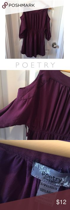 Poetry Brand Purple Cold Shoulder Dress Poetry Brand Purple Cold Shoulder Dress. 17 inch bust- approx with dolman sleeves. 13 inch elastic waist with good stretch. Has belt loops. Gently worn. Great condition. 32 inches long. Model has similar look to give you an idea of the look. Feel free to make an offer or bundle & save! Poetry Dresses