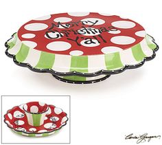 Ceramic Hand cake stand and chip/dip bowl