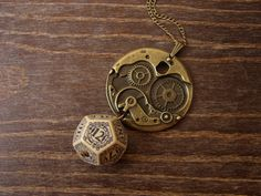 D12 steampunk dice pendant steam punk necklace by MageStudio, $33.50