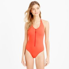 Pin for Later: 36 Sporty One-Pieces at Every Price  J.Crew Zip Front Halter One Piece Swimsuit ($80, originally $108)