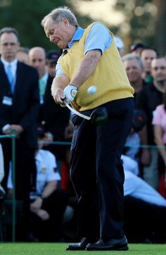 Honorary starter Jack Nicklaus hits a tee shot to start the first round of the 2012 Masters Tournament