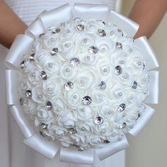 White Wedding Flowers Bridal Bridesmaid Bouquets buque de flores Artificial Rose Sparkle Crystal Wedding Bouquet A0001