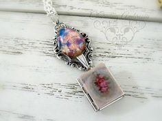 Pink Glass Opal Pear Harlequin Stone by CharmingAmbrosia on Etsy
