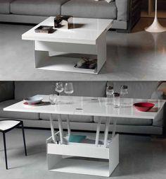 La Vela. Une table basse modulable avec un espace de rangement.