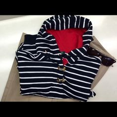 Ralph Lauren gold clasp nautical hoodie Ralph Lauren nautical hoodie in red, white and blue. Features two gold clasps at the neck and soft 100% Cotten - XL but not baggy. Classic RL. Hamptons ready Ralph Lauren Jackets & Coats