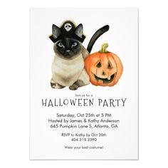 Halloween Costume Party Invitation Pirate Cat , #Affiliate, #Invitation#Pirate#Cat#Party