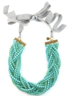 The Kelly Necklace with turquoise glass beads and rhinestone by LOREN HOPE.