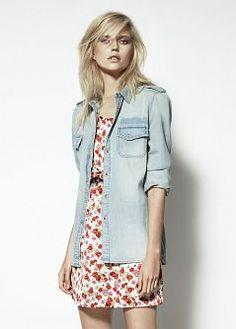 MANGO - denim shirt over floral dress