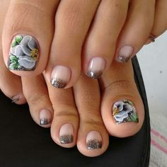 44 Ideas French Pedicure Ideas Toes Flower Nails For 2019 French Pedicure, Pedicure Colors, Pedicure Nails, Manicure And Pedicure, Pedicures, Toenail Art Designs, Pedicure Designs, French Nail Designs, Colorful Nail Designs
