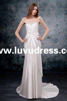Satin Strapless Neckline Rouched Design Sheath/Sheath/Column Style with Chapel Train A-Line A-Line Wedding Dress WG-0012 [WG-0012] - US$179.00 : luvudress