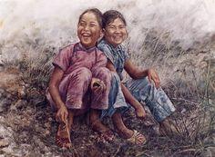 ARTIST WAI MING - Asian Oriental Chinese Fine Art Artwork Paintings Catalog (title: Girls in Grass)