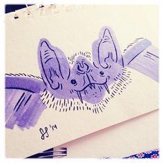 Happy Vampire #feedtheanimalspdx #ftapdx #doodles #bat #ink #progress