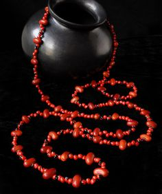 Necklace Zompantle with Ojo de Cangrejo, long seed necklace