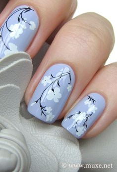 Pinned by www.SimpleNailArtTips.com SIMPLE NAIL ART DESIGN IDEAS - White water decal flowers on lilac nails