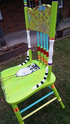 Carolyn's Funky Furniture: The Painted Chairs #paintedfurniturewhimsical #funkyfurniture