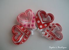 Valentine's Day Heart Shaped Ribbon Hair Clippies Set of 2