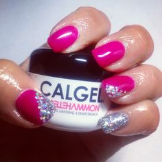 Calgel Neon Magenta with Glitter Mix in daylight . How To Do Nails, Fun Nails, Nice Nails, Calgel Nails, New Nail Art, Gel Color, Nail Colors, Colours, Wedding Nails