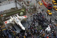 A LEGO X-Wing on Times Square.