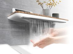 Minimum is an environmentally friendly bathroom faucet that brings user experience to a new level. Smart technology allows the hand-washing process to be more pleasurable, completely hygienic and very intuitive. A sensor-based water adjustment system also saves water as the faucet senses where and how much water is needed. Shelf functionality helps to keep the sink area clean and better organized.
