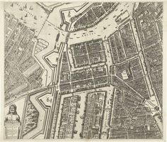 Balthasar Florisz. van Berckenrode | Plattegrond van Amsterdam (blad middenlinks), 1625, Balthasar Florisz. van Berckenrode, 1625 | Grote plattegrond van de stad Amsterdam uit 1625. Linksboven een gezicht op de stad en rechtsboven een kaart van de omgeving. Rechts een lijst met de namen van straten aan de Oude en de Nieuwe stadszijde. De plattegrond is samengesteld uit negen platen, waarvan twee ontbreken. Dit is het blad middenlinks met de Waag en het Zuiderkerkhof.