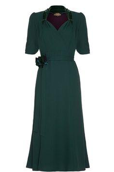 Nancy Mac Eliza Emerald Crepe Dress LUX FIX £ 103.20