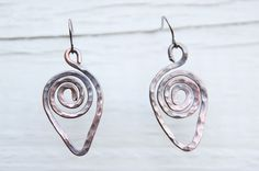 Teardrop Forged Antiqued Copper Dangle Earrings by PieceOLease