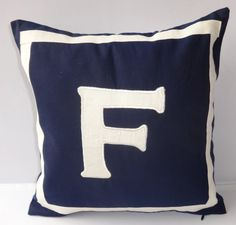 Navy monogrammed pillows -14 inches navy and off white   INSTOCK