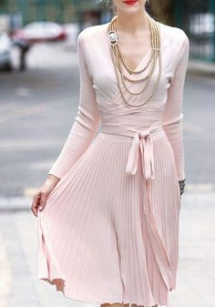 Pink Plain Belt V-neck Going out Polyester Midi Dress