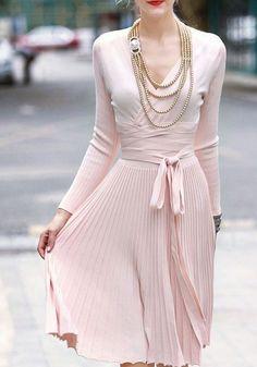 Pink Plain Belt V-neck Going out Polyester Midi Dress