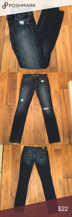 American Eagle Stretch Skinny Distressed Jeans American Eagle Stretch Skinny Distressed Jeans. Size 0. American Eagle Outfitters Jeans Skinny