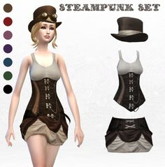 'Steampunk' Set Finally, after so much time and all, here is my steampunk set, I hope you like it, I've included a lot of colors, all showed up here :) For the goggles, it's an accessory not made by...