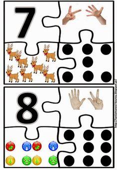 Δραστηριότητες, παιδαγωγικό και εποπτικό υλικό για το Νηπιαγωγείο & το Δημοτικό: Χριστουγεννιάτικα παιχνίδια για το νηπιαγωγείο: ντόμινο, σταυρόλεξο και παζλ Preschool Classroom Rules, Kindergarten Math Activities, Numbers Kindergarten, Numbers Preschool, Montessori Activities, Kindergarten Worksheets, Math Games, Material Didático, Maths Puzzles