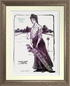 The Golf Girl - Vintage 1905 Art Print. Indianapolis Sunday Star 1905. Reproduced on Archival Heavyweight Paper. One for the golfer's wall http://www.zazzle.com/the_golf_girl_vintage_1905_art_print-228042136632041337 #golf #art #print #WomensGolf #1903