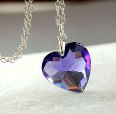 Purple Heart Necklace    Cubic Zirconia  Necklace    by hildes, $37.00