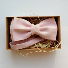Blush Linen Bow Tie