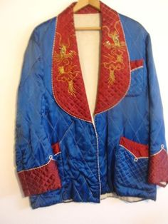 Vintage Japanese Silk Smoking Jacket 1950s