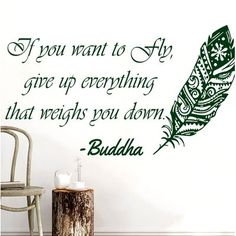 Bloomsbury Market Downey Quotes Feather Buddha Wall Decal Color: Green