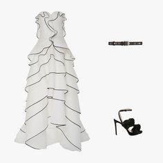 Oscar de la Renta strapless tiered gown, $5,990, modaoperandi.com; Givenchy embellished belt in black textured leather, $299, net-a-porter.com; Marco de Vincenzo plaited velvet sandals in black, $671, matchesfashion.com