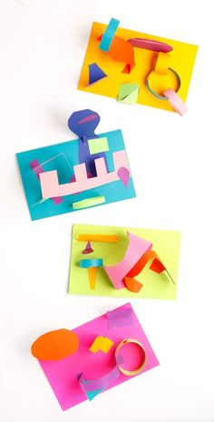Easy fun art project for kids: colored paper collage sculptures Shape Collage, 3d Collage, Paper Collage Art, Paper Art, Art Activities For Kids, Preschool Art, Art For Kids, Music Activities, Kindergarten Art