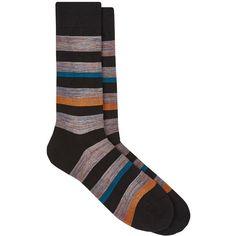 Barneys New York Men's Striped Cotton-Blend Mid-Calf Socks ($35) ❤ liked on Polyvore featuring men's fashion, men's clothing, men's socks, dark grey, mens socks and mens striped socks
