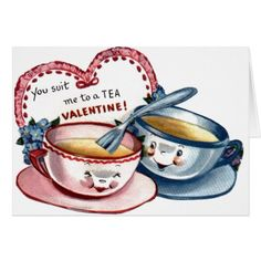 Vintage Tea Cups Valentine's Day Card - tap, personalize, buy right now!