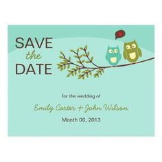 Owl Wedding Save the Date Cute Owls Save the Date Postcard