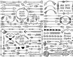 Große Reihe von Hand gezeichnet Pfeile Clipart, 102 PNG! Doodle-Pfeil-ClipArt-Grafiken, digitale Cliparts, EPS, AI, Vektor, persönlichen und kommerziellen Gebrauch