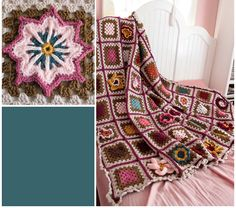 Gran's Garden Blanket. Never thought to combine brown with pinks.  I really like this though.  Glad it was pinned!
