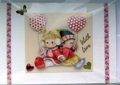 Love is  HandCrafted 3D Decoupage Card  With Love by SunnyCrystals, £1.40 #card #decoupage #birthday #love #pink #balloon #boy #girl