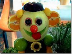 Sculptured fruits and vegetables.
