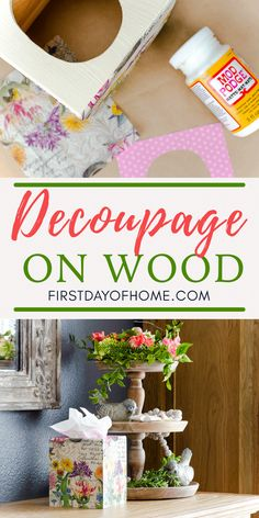 How to Decoupage on Wood: Expert Tips and Video Tutorial Learn how to decoupage on any type of wood with these expert tips. See a video tutorial for making a DIY wooden tissue box cover with napkins and Mod Podge. Cute Crafts, Decor Crafts, Wood Crafts, Diy And Crafts, Crafts For Kids, Diy Mod Podge, Mod Podge Crafts, Paper Napkins For Decoupage, Diy Decoupage Wood