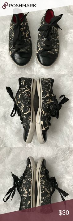 Brighton Sketch Rose Canvas Sneakers 8.5B Cute shoes from Brighton. Black, gray & cream with black ribbon laces. Shoes have been worn and do show some normal wear. Brighton Shoes Sneakers