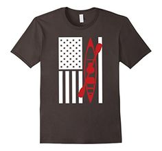 Men's Kayak American Flag T-shirt - Cool Kayaking Shirt 2…